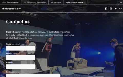 Screenshot of Contact Page theatrethreesixty.com - Contact us – theatrethreesixty - captured Feb. 28, 2016
