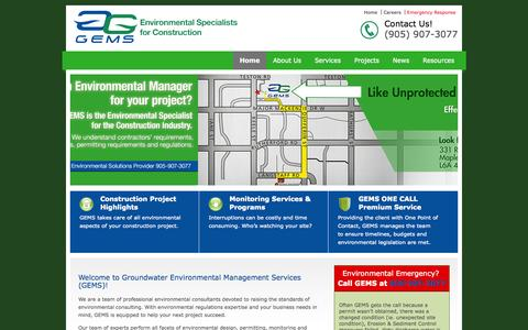 Screenshot of Home Page gemservicesinc.com - Groundwater Environment Management Services (GEMS) | Environmental Specialists for Construction & Development Projects | Toronto, Sudbury, Ottawa - captured Oct. 3, 2014
