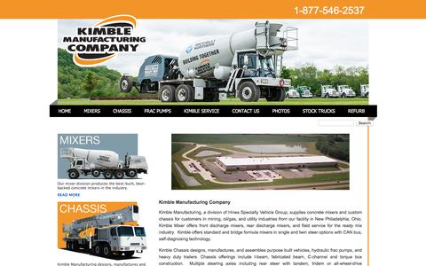 Screenshot of Home Page kimblemixer.com - Kimble Manufacturing Company - captured Feb. 12, 2016