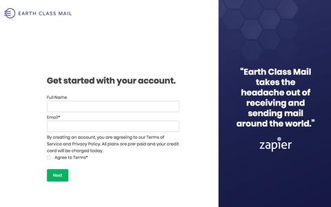 Screenshot of Signup Page earthclassmail.com - Sign Up | Earth Class Mail - captured Nov. 29, 2019