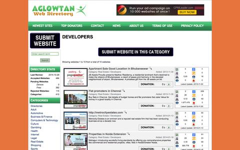 Screenshot of Developers Page aglowtan.com - Aglowtan - Web Directory - Category - Developers - captured Oct. 31, 2014