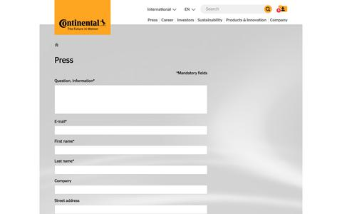 Screenshot of Press Page continental-corporation.com - Press Contact Form - Continental AG - captured Aug. 26, 2017