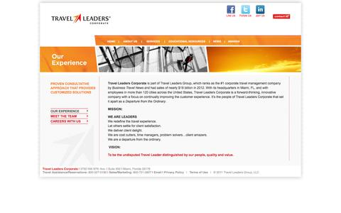 Screenshot of About Page travelleaderscorp.com - Business Travel Services   Travel Management Company   Travel Leaders Corporate - captured Oct. 7, 2014