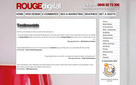 Screenshot of Testimonials Page rougedigital.co.uk - Testimonials | Winsford, Northwich, Crewe, Warrington, Cheshire by Rouge Digital - captured Sept. 30, 2014