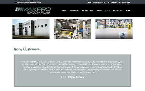 Screenshot of Testimonials Page maxprofilms.com - Happy Customers – Maxpro Films - captured July 25, 2018