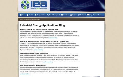 Screenshot of Blog ieapower.com - Industrial Energy Applications Blog - IEA - Cedar Rapids IOWA - captured Oct. 4, 2014