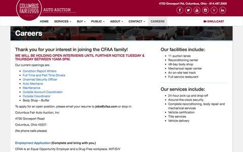 Screenshot of Jobs Page cfaa.com - Careers - Columbus Fair Auto Auction - captured July 28, 2017