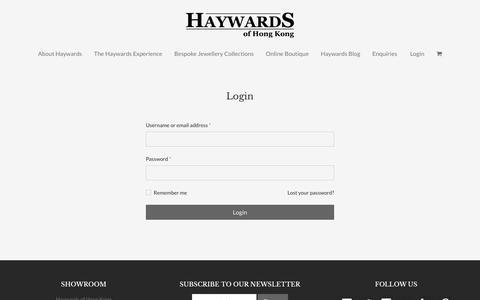 Screenshot of Login Page haywards.com.hk - My account - Haywards of Hong Kong - captured Sept. 27, 2018