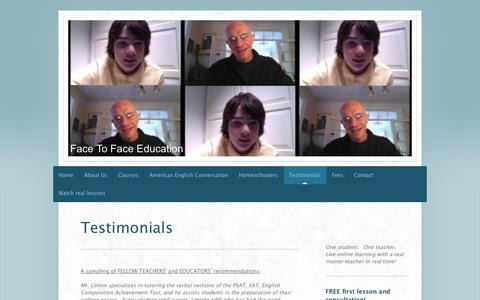 Screenshot of Testimonials Page face-to-faceeducation.com - Testimonials - Face To Face Education - captured Sept. 30, 2014