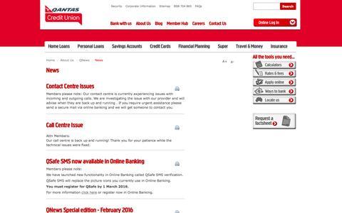 Screenshot of Press Page qantascu.com.au - News - Qantas Credit Union - captured Jan. 26, 2016