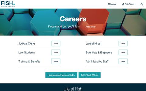 Screenshot of Jobs Page fr.com - Law Careers | Fish - captured Oct. 22, 2015