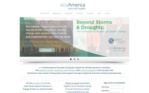 Screenshot of Home Page ecoamerica.org - ecoAmerica | Start with People - captured Sept. 18, 2014