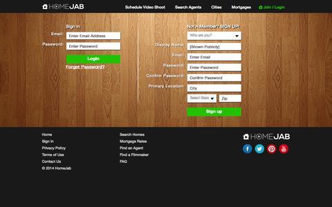 Screenshot of Login Page homejab.com - Sign In - HomeJab: Watch, Upload, Share   Real Estate Video Tours - captured Sept. 16, 2014