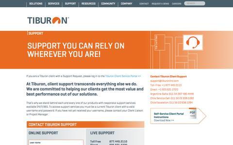 Screenshot of Support Page tiburoninc.com - Tiburon - Client Support - Tiburon - captured Oct. 6, 2014