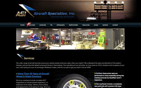 Screenshot of Services Page asibrake.com - Aircraft Specialists | Wheel and Brake Overhaul - captured Oct. 4, 2014