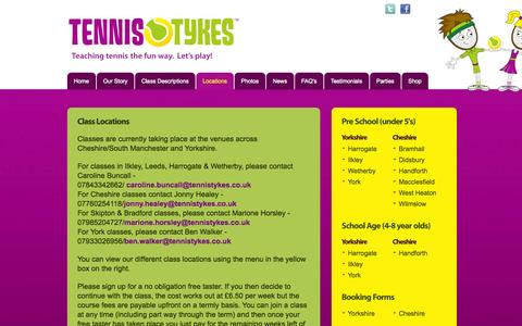 Screenshot of Locations Page tennistykes.co.uk - Class Locations | Tennis coaching for kids in Harrogate, Ripon, York, Wetherby and Leeds | Tennis Tykes - captured Oct. 7, 2014