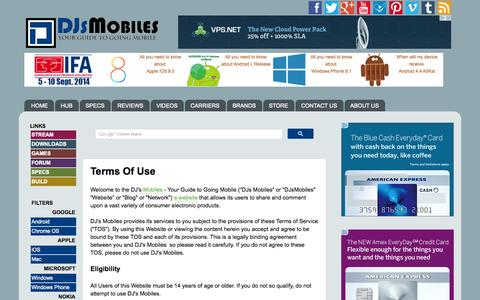 Screenshot of Terms Page djsmobiles.com - Terms Of Use  -  DJs Mobiles   Technology News, Reviews and Specs - captured Sept. 19, 2014