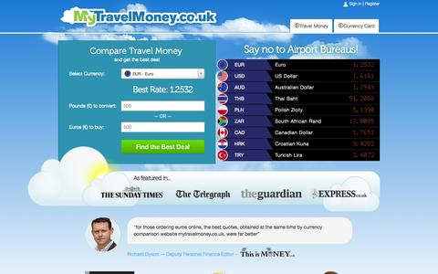 Screenshot of Home Page mytravelmoney.co.uk - Compare Travel Money | Buy Currency Online At The Best Exchange Rates - captured Sept. 22, 2014
