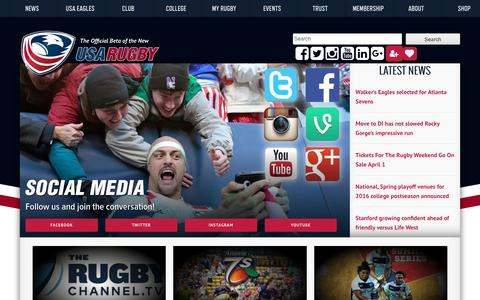 Screenshot of Home Page usarugby.org - USA Rugby | The official BETA of the new USA Rugby! - captured April 4, 2016