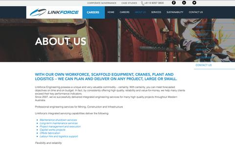 Screenshot of About Page linkforce.com.au - Integrated Engineering Services | ABOUT US - captured Sept. 29, 2018