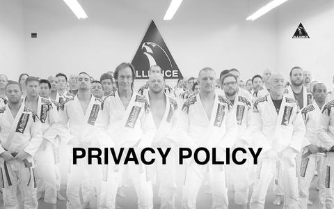 Screenshot of Privacy Page alliancebjjmn.com - Privacy Policy - captured Oct. 18, 2018