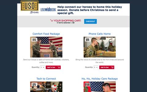 Screenshot of Landing Page uso.org - USO Wishbook | USO.org - captured April 16, 2017