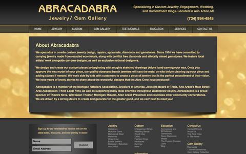 Screenshot of About Page abragem.com - Abracadabra Jewelry - About Us - captured Nov. 20, 2016