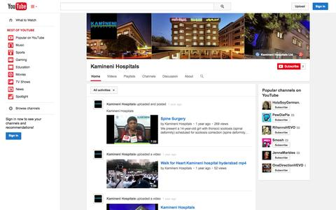 Screenshot of YouTube Page youtube.com - Kamineni Hospitals  - YouTube - captured Oct. 23, 2014