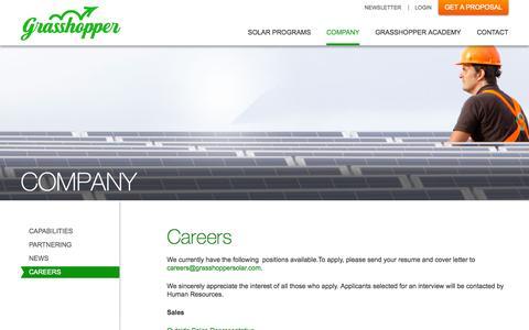 Screenshot of grasshoppersolar.com - Careers | Grasshopper Solar - captured Oct. 3, 2015