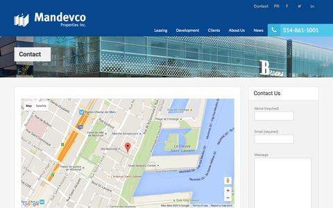 Screenshot of Contact Page mandevco.com - Mandevco Properties - Contact UsMandevco - captured Feb. 4, 2016