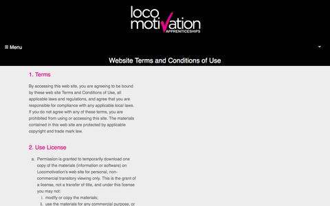 Screenshot of Terms Page locomotivation.co.uk - Terms of Use - Locomotivation - captured July 22, 2018