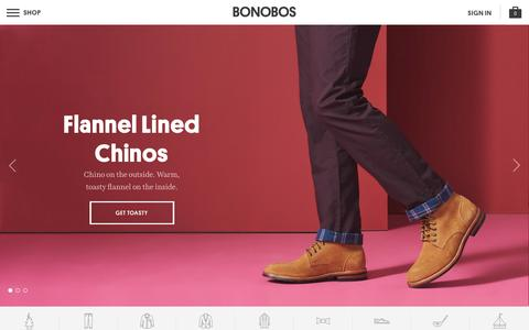 Screenshot of Home Page bonobos.com - Better-Fitting, Better-Looking Men's Clothing & Accessories | Bonobos - captured Dec. 31, 2015