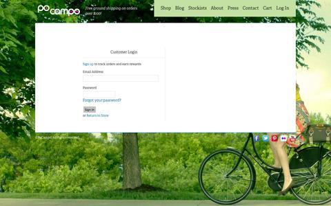 Screenshot of Login Page pocampo.com - Account | Po Campo - captured Sept. 30, 2014