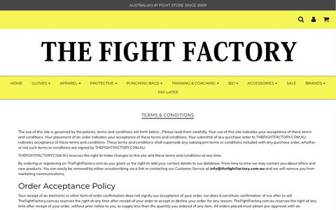 Screenshot of Terms Page thefightfactory.com.au - Terms & Conditions – The Fight Factory - captured Nov. 7, 2017