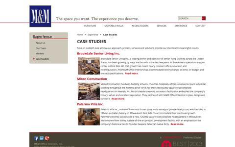 Screenshot of Case Studies Page mmoffice.com - M&M Office Interiors :: Case Studies - captured Oct. 3, 2014