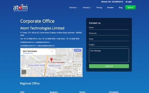 Screenshot of Contact Page atomtech.in - Atomtech: Contact Us for Secure Payment Gateway Services - captured June 28, 2017