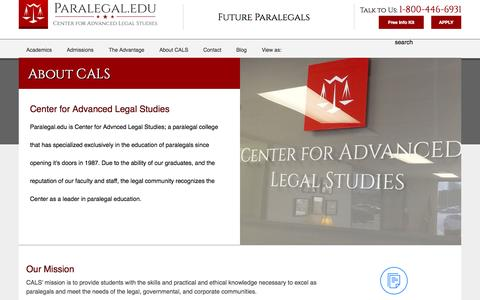 Screenshot of About Page paralegal.edu - About | Center for Advanced Legal Studies - captured Nov. 4, 2015