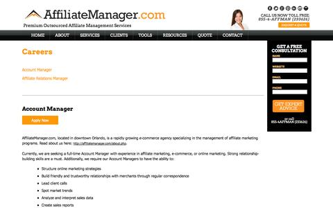 Screenshot of Jobs Page affiliatemanager.com - Affiliate Manager | Affiliate Manager Jobs - captured Sept. 19, 2014