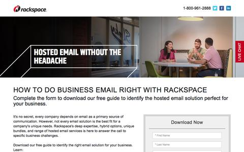 Screenshot of Landing Page rackspace.com - How to Do Business Email Right - captured March 5, 2018