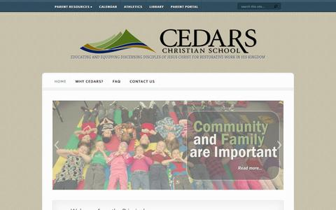 Screenshot of Home Page cedars.bc.ca - Prince George BC Christian Elementary and High School Education | Private School Prince George | Independent School Prince George - captured Oct. 4, 2014