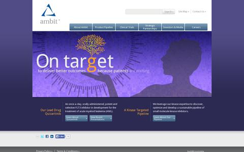 Screenshot of Home Page ambitbio.com - Ambit Biosciences Corporation: Home - captured July 12, 2014