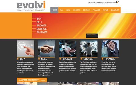 Screenshot of Home Page evolvismt.com - Evolvi SMT Quality Used SMT Equipment - captured Sept. 30, 2014