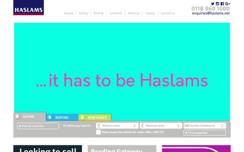 Screenshot of Home Page haslams.net - Reading Estate & Lettings Agents & New Homes Developments - captured Sept. 27, 2018