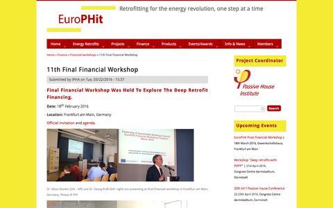 Screenshot of europhit.eu - 11th Final Financial Workshop | EuroPHit - captured April 20, 2016
