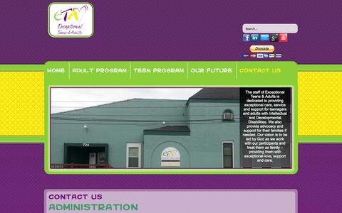 Screenshot of Contact Page exceptionalteensadults.org - Contact Us - Exceptional Teens & Adults - captured Oct. 3, 2014
