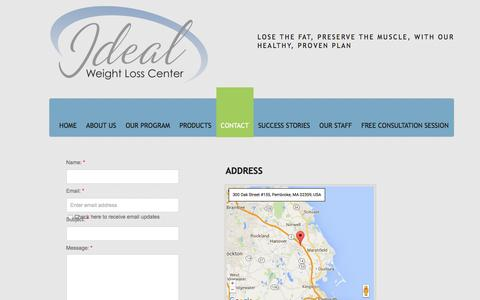 Screenshot of Privacy Page Contact Page youridealweightloss.com - Contact - captured Feb. 10, 2016