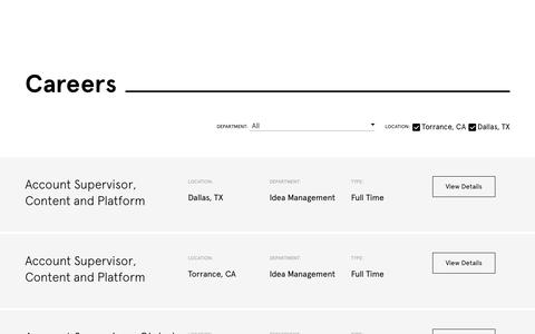 Screenshot of Jobs Page wearesaatchi.com - Interested in a Career With Saatchi & Saatchi? Come Work With Us! - captured March 6, 2019