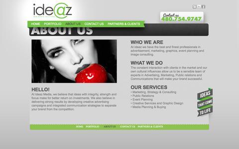 Screenshot of About Page ideazmedia.com - Scottsdale PR Agency | Ideaz Media - captured Oct. 6, 2014