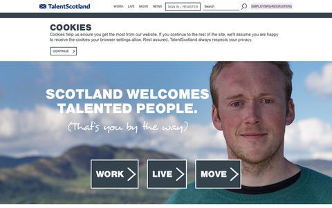 Screenshot of Home Page talentscotland.com - Live and Work in Scotland   TalentScotland - captured Sept. 19, 2014