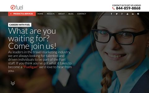 Screenshot of Jobs Page fueltravel.com - Careers at Fuel - Digital Marketing jobs for the Hotel Industry - captured Dec. 5, 2015